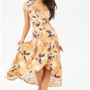 Floral beige wrap dress